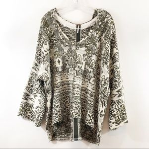Free People Southwestern Poncho Hooded Sweater M